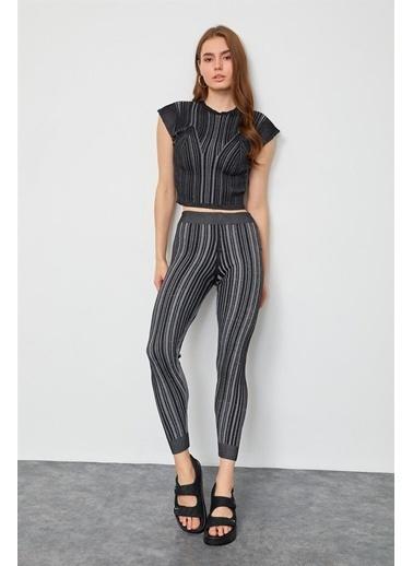 Setre Bej Triko Bluz Pantolon Takım Siyah